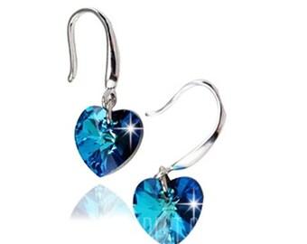 Pair of Graceful Faux Sapphire Heart Earrings For Women  -  BLUE