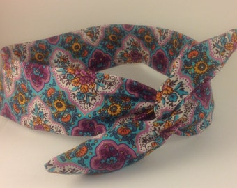 Blue and Purple Bohemian Wired Headband