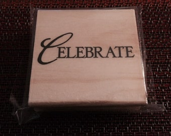 """25%OFF SALE NEW Michaels Wood rubber stamp """"Celebrate"""""""