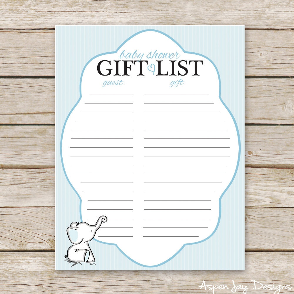 Baby Shower Gift List Printable ~ Blue elephant baby shower gift list printable download