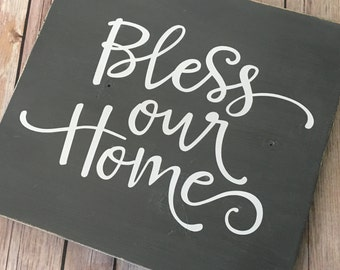 Bless Our Home - Wooden Sign - Home Decor - Farmhouse - Rustic - Wall Decor - Neutral