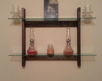 handcrafted glass wood shelf