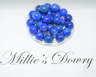 Lapis Bead 8mm Drilled - Vibrant Blue