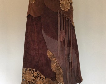 """Long leather skirt with lace """"NIGHTINGALE"""" Brown (example photo)"""