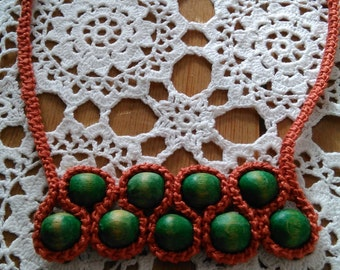 Crochet necklace with wooden beads