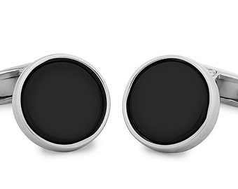 Silver 925 Cufflinks Onyx Stone