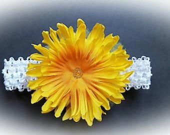 Big yellow flower headband