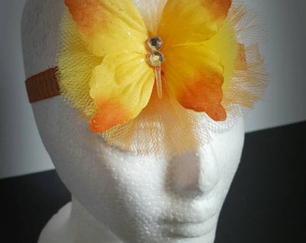 Orange and gold baby headband with tulle and butterfly
