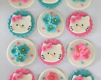 Set of 12 Hello Kitty Cupcake Toppers