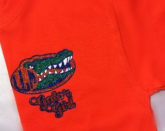 Glitter Monogrammed T-Shirt/ Gator Girl Glitter Monogram Shirt/ Cute/ Florida Gators T-shirt/ Gator Football Shirt/ Gifts/ Glitter Monogram