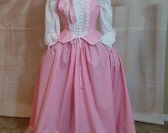 Pink Renaissance Ensemble (Petticoat, blouse, and front lacing bodice) size 6-8