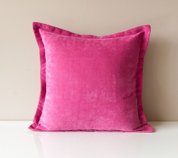 Pink Throw Pillows For Couch : Pink Velvet Throw Pillow Cover Solid Throw by OneHappyPillow