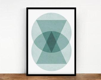 Circles Print, Geometric Print, Circles Geometric Poster, Digital Wall Art, Geometric Artwork, Mint Circles Print, Printable Digital Art