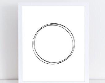 Circle Print, Geometric Poster, Minimalist Print, Scandinavian Art, Black and White Wall Decor, Modern Printable Art, Large Wall Art, Poster