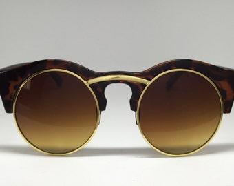 Women's Tortoise Aviator Round Sunglasses
