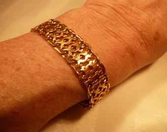 "MONET Mid-Century Woven Mesh Woven 7 1/4"" Gold Tone Bracelet"