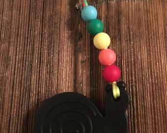 Teething clip- Rainbow Snail