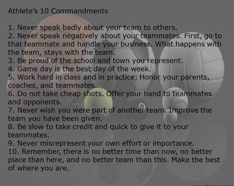 Ten Commandments for Athletes Digital Print, Downloadable Rules for Athletes, Athletic Rules of Behavior Print, Athlete's Rules Wall Art