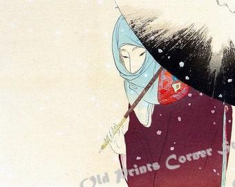 Ukiyo-e reprint,Preboarded,a lady,Tomioka Eisen,woodblock,decor,Japanese,te6