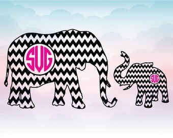 Elephant monogram frame, Big elephant and baby elephant chevron SVG, Chevron monogram file, Silhouette design, Cricut design, animal frame