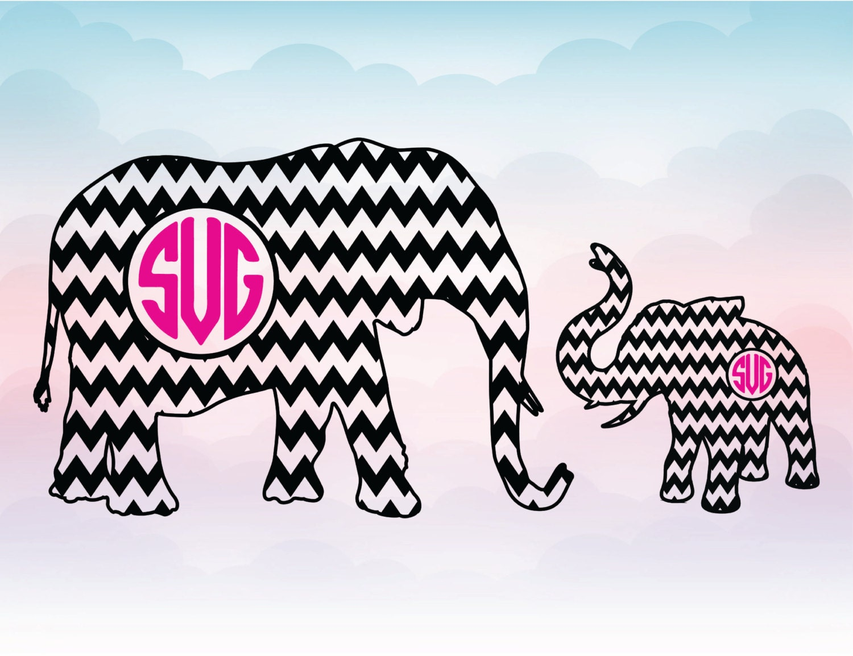 elephant monogram frame big elephant and baby elephant chevron svg chevron monogram file silhouette design cricut design animal frame - Elephant Picture Frame