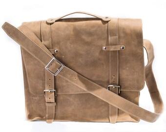 Men's Diesel Messenger Bag with White Stitching.
