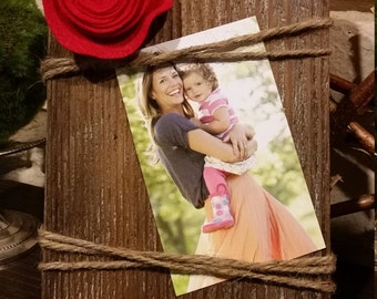 Rustic Wood & Twine Picture Frame with Flower