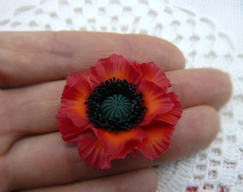 1 pcs. polymer clay flower bead, Poppy Beads, Polymer Clay Beads, Red Flower Beads