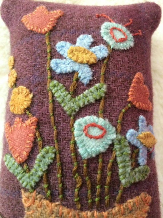 Basket Weaving Supplies Phoenix Az : Hand appliqued wool pincushion sachet flower pot