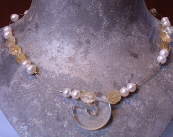 Mountain crystal, citrine, Pearl necklace on stainless steel