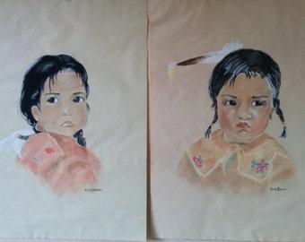 Portraits of Native Indian Children (Not Framed)