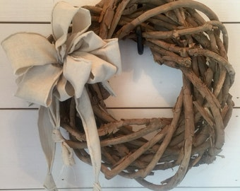 Thick prim grapevine wreath, homespun bow, wreath, prim decor, primitive wreath, rustic decor, wall decor, door decor, door wreath, gift