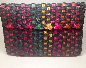 Vintage 80s Multi Color Straw Envelope Clutch Purse