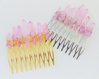 Goddess Hair Comb - Rose Quartz