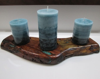Mesquite live edge candle holder