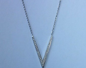 Pendants , Badass Long V Necklace, Pointed Long Necklace, Triangle, Angled Bar Necklace,Sterling Silver/Solid gold