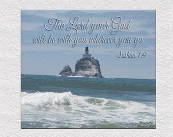 Lighthouse in the Ocean with Scripture Print and Frame Wall Decor