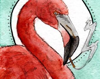Watercolor Smoking Flamingo