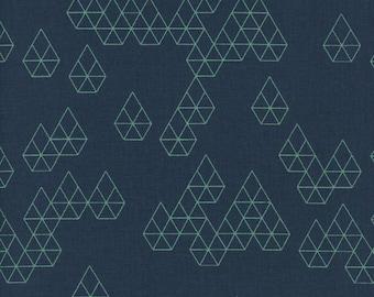 Cotton + Steel- Raindrops- Geo drops in teal - Rashida Coleman Hale