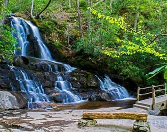 Waterfall Photography, Great Smoky Mountains, Bench, Waterfall Photo, Waterfall Print, Waterfall Art, Home Decor, Brook, Cascade, Stream Art
