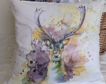 Stag Pillow Stag Cushion Cushion Cover Stag Pillow Case Stag Painting Stag Illustration Silky Cushion White Stag Print Cushion