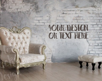Vintage Armchair and Stool on White Background of a Brick Wall /Stock Photography / Product Mockup / High Res File