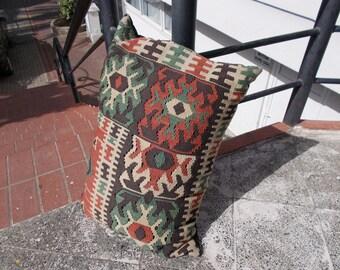 Vintage Turkish kilim pillow 22.0'' X 31.4''  or  56 X 80 cm