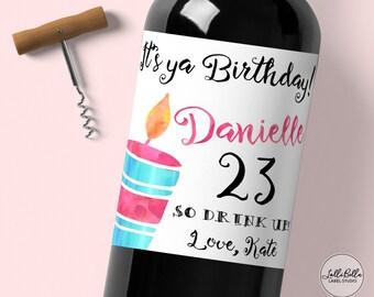 Birthday Wine Label, Birthday Party, Custom Wine Label, Birthday Party Gift, Birthday Present, Colorful Birthday Wine Label, Party Ideas