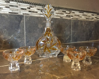 1940's Hollywod Regency German crystal gold star decanter and stemware