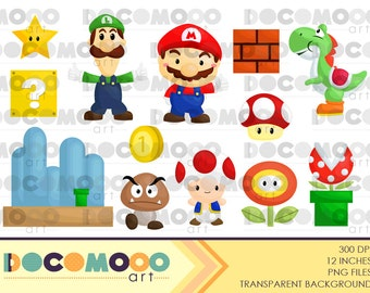 Buy 1 Get 1 !! Super Mario Clipart / Digital Clip Art for Commercial and Personal Use / INSTANT DOWNLOAD