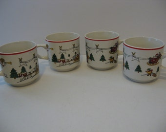 Set of 4 Jamestown China - The Joy Of Christmas Tea Cups