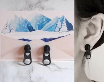 Earrings, minimalist, black zip ear jewelry