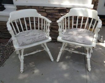 Pair cottage chic, French country with really cool seat cushions.  Original Heywood farmhouse  Captains Chair