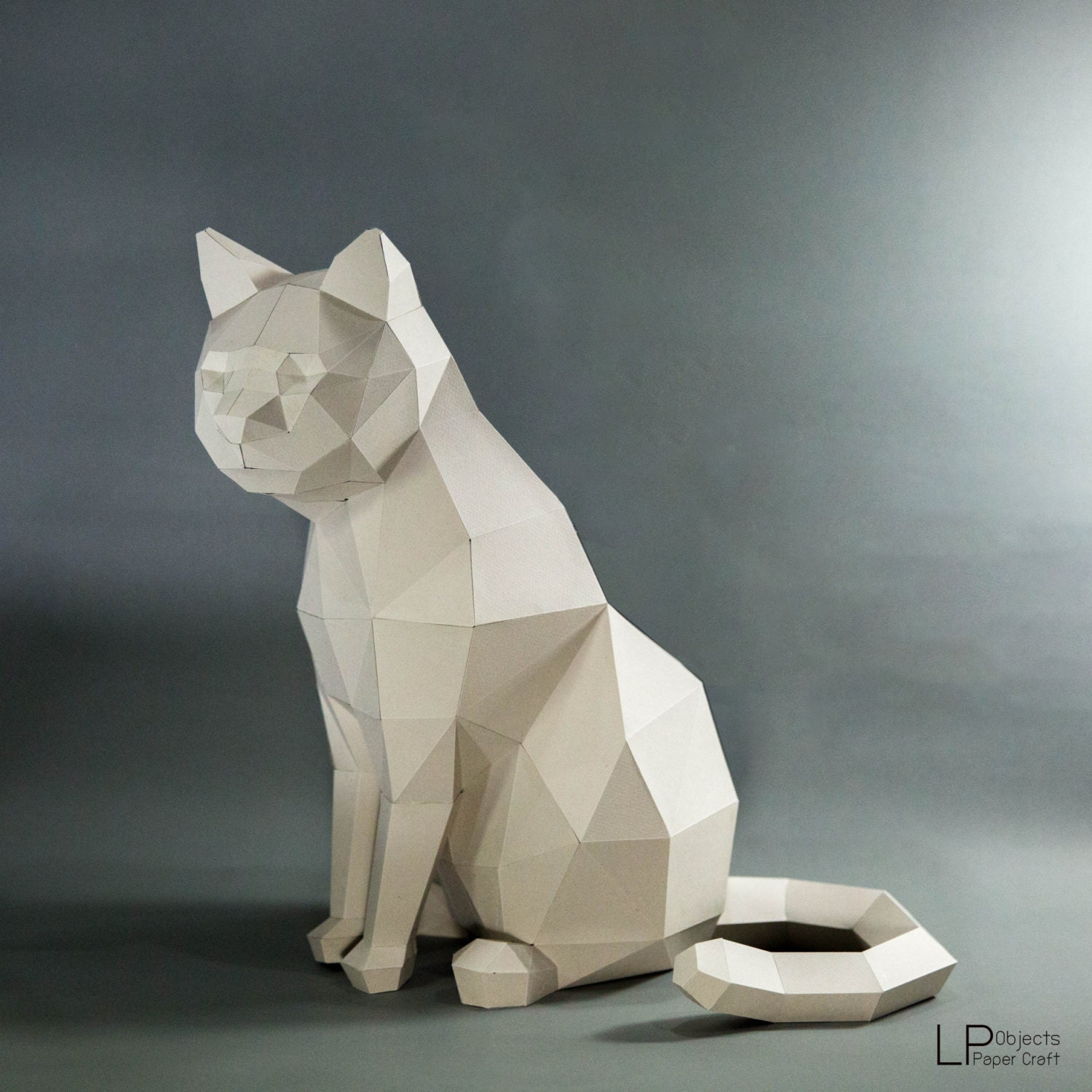 Cat model cat low poly cat sculpture pet cat kit for Diy 3d art